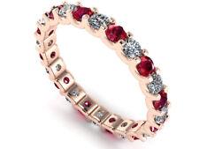 1.30Ct Round Ruby Diamond Shared U-Prong Eternity Band Ring 14k Gold AAAA F VS2
