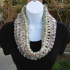 SUMMER COWL SCARF Off White Blue Purple Pink Small Short Crochet Knit Infinity