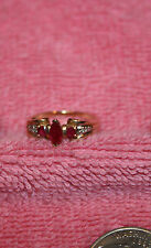 Vintage Diamond & Marquis Red Ruby 10K Gold Ring Size 7
