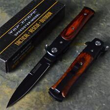 TAC-FORCE Godfather Wood Stiletto Spring Assist Open Folding Blade Pocket Knife