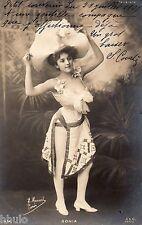 BE517 Carte Photo vintage card RPPC Femme woman Sonia pin-up robe chapeau ballet