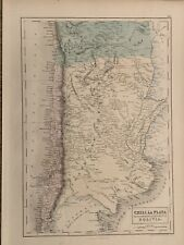 1854 CHILE ARGENTINA BOLIVIA LARGE HAND COLOURED ANTIQUE MAP 165 YEARS OLD