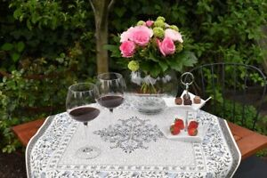 Tablecloth Provence 75x75 CM Taupe Blue Jacquard Gobelinart from France