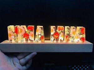 Custom Name Letter Lamp Personalized Handmade Resin Dry Flower Warm Color Light