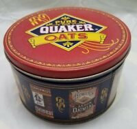 "Collectible Tin With Lid 1991 Quaker Oats 4.5""x7"""