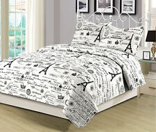 Twin, Queen, or King Size Bedding Quilt Set Paris Eiffel Tower, Black and White
