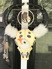Large DREAM CATCHER/DREAMCATCHER Skull with Horns/Eagle/Indian 18x13.5 Inches
