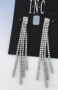 INC International Concepts Silver-Tone Crystal Chain Linear Drop EARRINGS