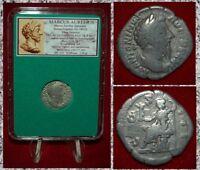Roman Empire Coin MARCUS AURELIUS Seated Roma On Reverse Silver Denarius