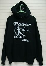 Jerzees Fastpitch Softball Power In A Ponytail Hooded Sweatshirt Size L