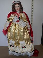 "Paradise Galleries 19"" Porcelain Doll Adorned in Gold and Red w/Floral &  Lace"