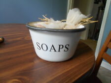 Country White Enamel Metal Soap Bowl With Two Bags Of Homemade Oatmeal Soap