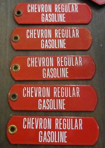 One Vintage Original Chevron Gasoline Porcelain Gas Pump Tag Sign