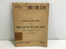 Ord 7 Snl G-510. Maintenance Alwnc for Truck, 4-5 ton, Coe, Tractor. U7144T.1951