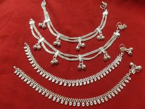 Bollywood pair anklet ankle bracelet silver bells Pakistan India jewelry payal