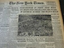 1952 JULY 8 NEW YORK TIMES - EISENHOWER WINS FIRST TEST 658 TO 548 - NT 5940