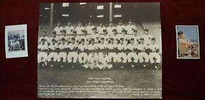 Baseball LOT 1952 Yankees Team 11x14 Yogi Berra Mickey Mantle 1989 Bowman Cards