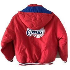 Vintage Reebok LA Clippers Red Embroidered Varsity Jacket Youth Large Bomber