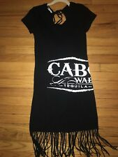 Cabo Wabo Tequila Sammy Hagar Black Fringe Dress Promo Girl Beach Cover Up Sz S