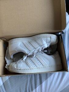 Size 2 White Adidas Superstars