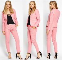 Womens Business Blue Pink Linen Single Breasted Tailored Trousers Suits Jacket