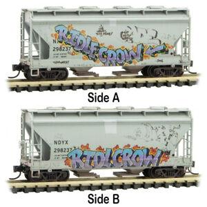 Micro-Trains MTL N-Scale 2-Bay Centerflow Hopper NDYX Graffiti/Weathered #298237