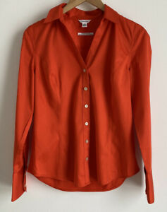 Calvin Klein Burnt Orange Ladies Long Sleeve Essential Fit Button Shirt Small