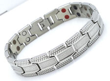 MEN'S LARGE  DOUBLE ROW BIO MAGNETIC BRACELET STAINLESS STEEL 5 IN 1 SILVER
