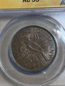 1942 New Zealand 1 Penny Graded AU55BN by ANACS!!!
