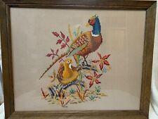 Large Vintage Needlepoint Pheasant Wall Decor Artwork