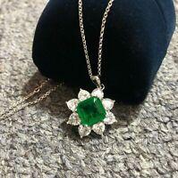 Damen Halskette echt Silber 925 Quadrat Smaragd Edelstein Kette Silber Anhänger.