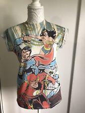 Ladies Girls Marvel t-shirt. Justice League Size 6 wonder woman superman flash