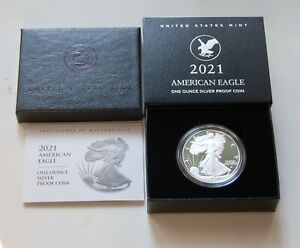 2021 W American Silver Eagle 1 OZ. Ultra Cameo Proof Type 2 (21EAN) In Hand