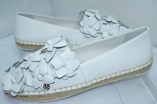 New Tory Burch Blossom Espadrille White Shoes Size 8 Flat Leather Slip On