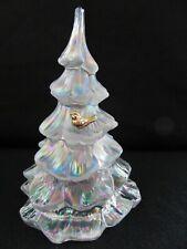 "Fenton Glass Iridescent Christmas Tree with Bird 6"""
