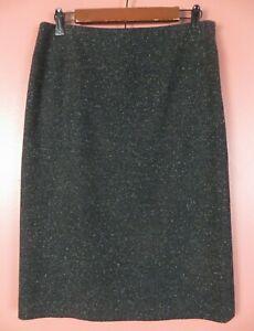 SK16842- HAROLD'S Women's 60% Wool 10% Silk Pencil Skirt Black White Grainy 8