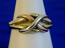 Ladies SOLID 9ct Yellow Rose Gold PUZZLE Celtic RING 3gr Hm Size L Exc Con cx394