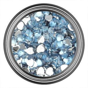Teal Heart Rhinestone Gems Flat Back Face Art Nail Art Jewels Decoration