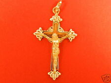 "18k Yellow,Rose,White Gold Work of Art Crucifix Cross  5..3gr  1.750""inch X .900"