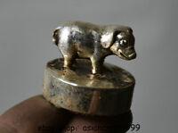 3 CM Alte Chinesische Miao Silber 12 Tierkreis-jahr Schwein Tier Siegel Stempel