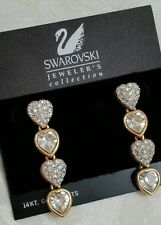 "Swarovski Faceted Crystal Hearts & Pave 2"" Dangling Earrings Jewelers Collection"