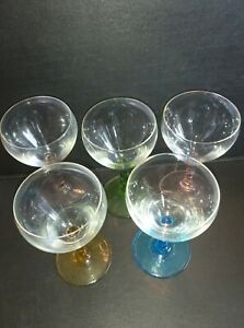 Set of 5 Cocktail Glasses in Assorted  Colours Barley Twist Stems