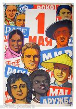 STALIN ORIGINAL SOVIET USSR COMMUNIST PROPAGANDA VINTAGE POSTER SOCIAL REALISM