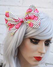 Pink Cherry Big Hair Bow Clip Pastel Goth Kei Lolita Kawaii Indie Rockabilly