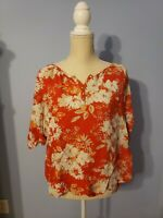 Izod Womens Orange Floral Short Sleeve Blouse Size XLarge