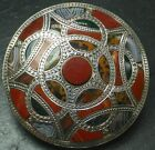 SUPERB ANTIQUE VICTORIAN SCOTTISH SILVER AGATE PEBBLE BROOCH PIN LARGE SIZE