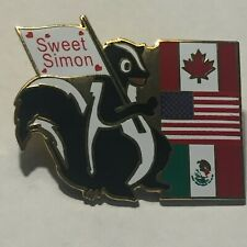 New listing Sweet Simon Skunk Lapel pin, Canadian, Us, Mexican Flags