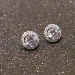 Women Fashion Zircon Diamond Stud Earrings Exquisite Round Earrings R