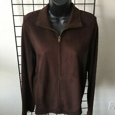 RALPH LAUREN Dark Brown Faux Suede Poly Zip Up Equestrian Jacket Women's Medium