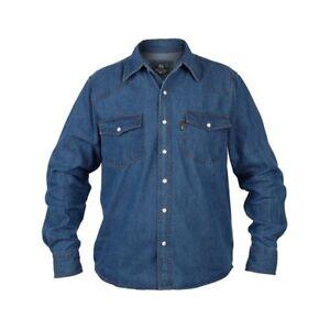 Big Kingsize New Mens FITZGERALD  Western Long Sleeve  Denim Jean Shirt 2XL-8XL